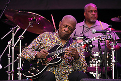 "© Licensed to London News Pictures. 15/05/2015.  Blues legend BB King performing at Glastonbury in 2011. The ""King of the Blues"", guitarist and singer BB King, has died aged 89. Photo credit: Jason Bryant/LNP"