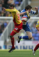 Photo: Lee Earle.<br /> Reading v Watford. The Barclays Premiership. 05/05/2007.Watford's Lee Williamson (L) clashes with John Oster.