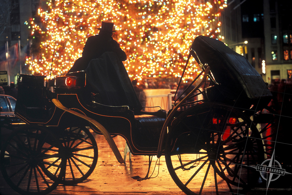 Christmas Tree, Hansom Cab, Rockefeller Center