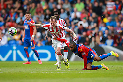 Jason Puncheon of Crystal Palace is brought down by Glenn Whelan of Stoke City - Mandatory by-line: Jason Brown/JMP - 18/09/2016 - FOOTBALL - Selhurst Park - London, England - Crystal Palace v Stoke City - Premier League
