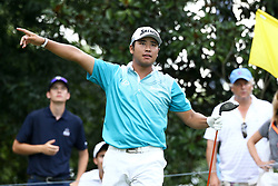 August 11, 2017 - Charlotte, North Carolina, United States - Hideki Matsuyama signals off the 17th tee during the second round of the 99th PGA Championship at Quail Hollow Club. (Credit Image: © Debby Wong via ZUMA Wire)