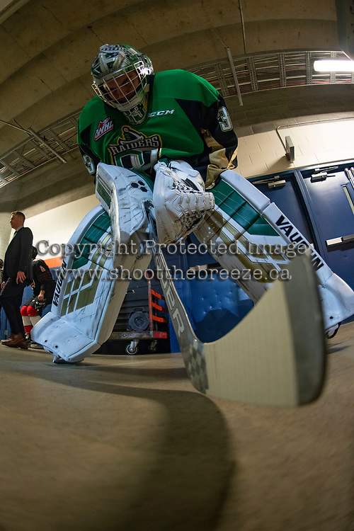 KAMLOOPS, CANADA - NOVEMBER 5: Ian Scott #33 of Team WHL stands in the hall before warm up against the Team Russia  on November 5, 2018 at Sandman Centre in Kamloops, British Columbia, Canada.  (Photo by Marissa Baecker/Shoot the Breeze)