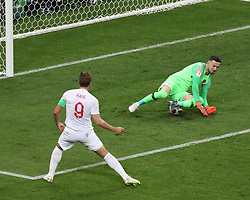 July 11, 2018 - Moscow, Russia - July 11, 2018, Moscow, FIFA World Cup 2018 Football, the playoff round. 1/2 finals of the World Cup. Football match Croatia - England at the stadium Luzhniki. Player of the  national team Harry Kane; Daniel Subasic; (Credit Image: © Russian Look via ZUMA Wire)