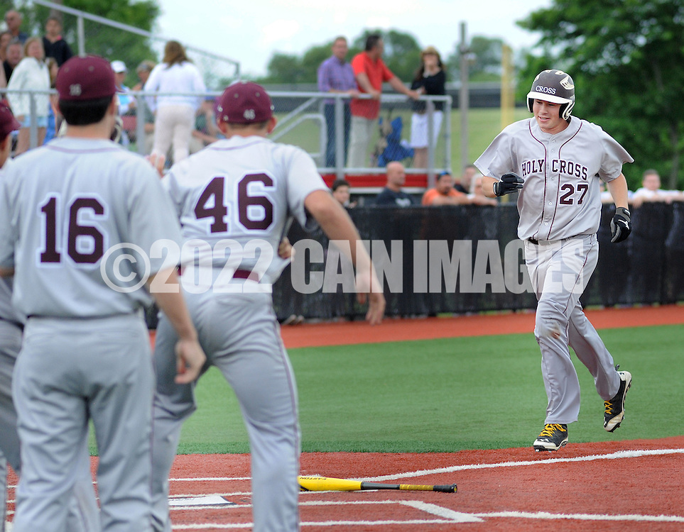 Holy Cross James Farrell #27 scores the game winning run after hitting a 3 run home run against Gill St. Bernard's in the sixth inning of the NJSIAA South Jersey Non-Public B championship baseball game Tuesday June 7, 2016 at Rutgers University in Piscataway, New Jersey. Holy Cross defeated Gill St. Bernard's 4-3. (Photo by William Thomas Cain)