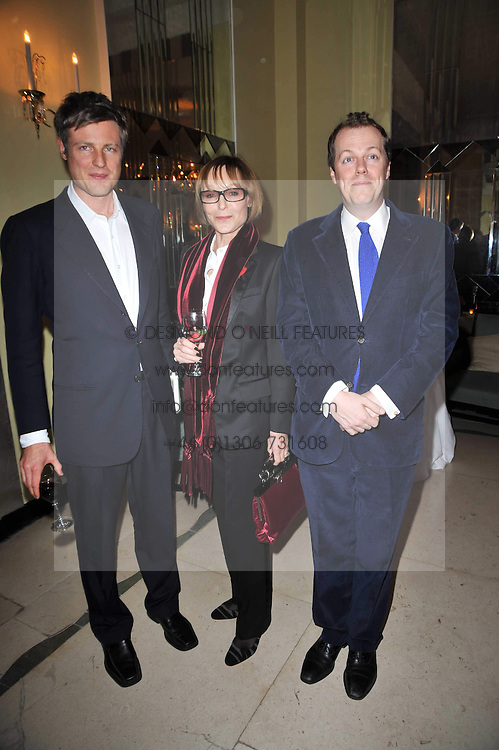 Left to right, ZAC GOLDSMITH, LADY VICTORIA GETTY and TOM PARKER BOWLES at a party to celebrate the publiction of 'No Invitation Required' by Annabel Goldsmith, held at Claridge's, Brook Street, London on 11th November 2009.