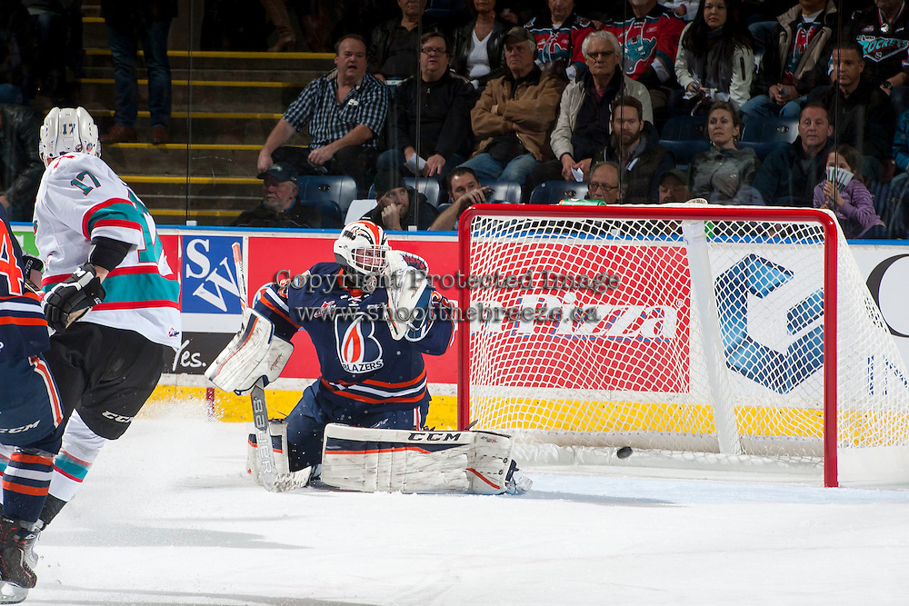 KELOWNA, CANADA - MARCH 25: Connor Ingram #39 of Kamloops Blazers misses a save against the Kelowna Rockets on March 25, 2016 at Prospera Place in Kelowna, British Columbia, Canada.  (Photo by Marissa Baecker/Shoot the Breeze)  *** Local Caption *** Connor Ingram;