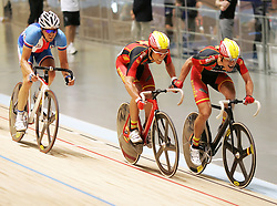 (Melbourne, Australia---08 April 2012) The Spanish Team makes a pass during the Madison at the 2012 UCI Track Cycling World Championships.Copyright 2012 Sean Burges / Mundo Sport Images.