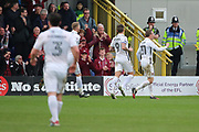 Northampton Town midfielder Matthew (Matt) Taylor (31) celebrating after scoring 0-1 during the EFL Sky Bet League 1 match between AFC Wimbledon and Northampton Town at the Cherry Red Records Stadium, Kingston, England on 11 March 2017. Photo by Matthew Redman.