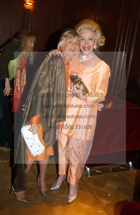 Left to right, LIZ BREWER and DAME NANCY CHOPARD at a party hosted by jewellers Adler to celebrate 20 years in London held at 5 Cavendish Square, London on 4th May 2005.<br />