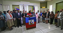 October 4, 2018 - Miami, FL, USA - Marleine Bastien, executive director of Family Action Movement Network (FAMN), discusss a federal judge's preliminary injunction against the Trump administration's termination of Temporary Protected Status (TPS) on Thursday, Oct. 4, 2018. (Credit Image: © Patrick Farrell/Miami Herald/TNS via ZUMA Wire)