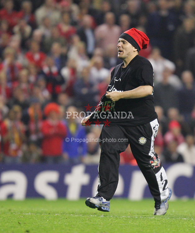 LIVERPOOL, ENGLAND. TUESDAY, MAY 3rd, 2005: A man invades the pitch during the UEFA Champions League Semi Final 2nd Leg at Anfield. (Pic by David Rawcliffe/Propaganda)