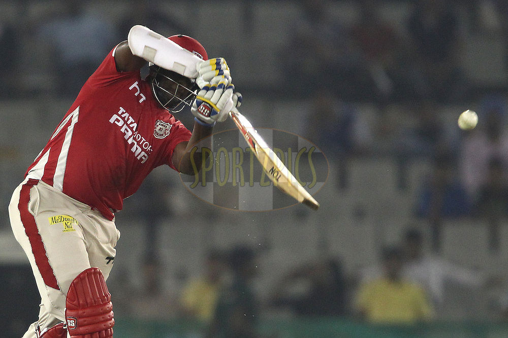 Thisara Perera of the Kings XI Punjab hits over the top during match 2 of the Oppo Champions League Twenty20 between the Kings XI Punjab and the Hobart Hurricanes held at the Punjab Cricket Association Stadium, Mohali, India on the 18th September 2014<br /> <br /> Photo by:  Shaun Roy / Sportzpics/ CLT20<br /> <br /> <br /> Image use is subject to the terms and conditions as laid out by the BCCI/ CLT20.  The terms and conditions can be downloaded here:<br /> <br /> http://sportzpics.photoshelter.com/gallery/CLT20-Image-Terms-and-Conditions-2014/G0000IfNJn535VPU/C0000QhhKadWcjYs