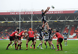 Ben Glynn wins the line-out for Bristol Rugby - Mandatory by-line: Paul Knight/JMP - Mobile: 07966 386802 - 31/01/2016 -  RUGBY - Ashton Gate Stadium - Bristol, England -  Bristol Rugby v Jersey - Greene King IPA Championship