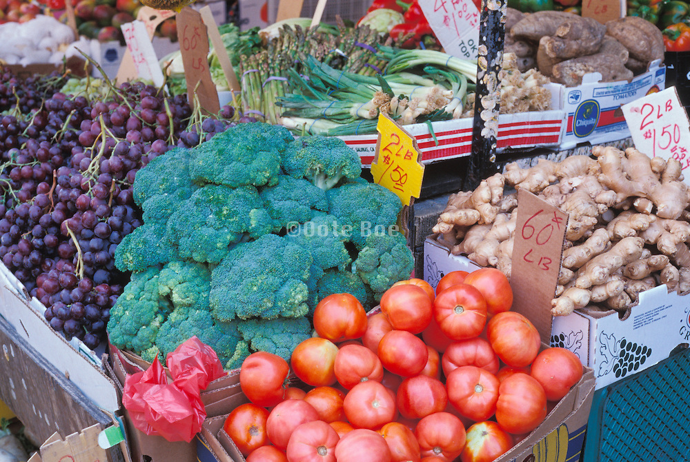 Healthy fruit vegetables and roots displayed.