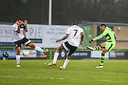Forest Green Rovers Keanu Marsh-Brown(7) has a shot from range during the Vanarama National League match between Forest Green Rovers and Boreham Wood at the New Lawn, Forest Green, United Kingdom on 11 February 2017. Photo by Shane Healey.