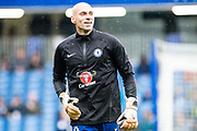 Chelsea (1) GK Willy Caballero during the warm up before Premier League match between Chelsea and West Ham United at Stamford Bridge, London, England on 8 April 2018. Picture by Sebastian Frej.