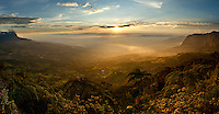 As the sun dips below a cloud bank it clothes the farming valley below in intense golden light. With the exotic vegetation in the foreground this scene could well have been taken from Jurassic Park. As seen from the cloud forests of Parque Chicaque, near Bogota, Cundinamarca, Colombia