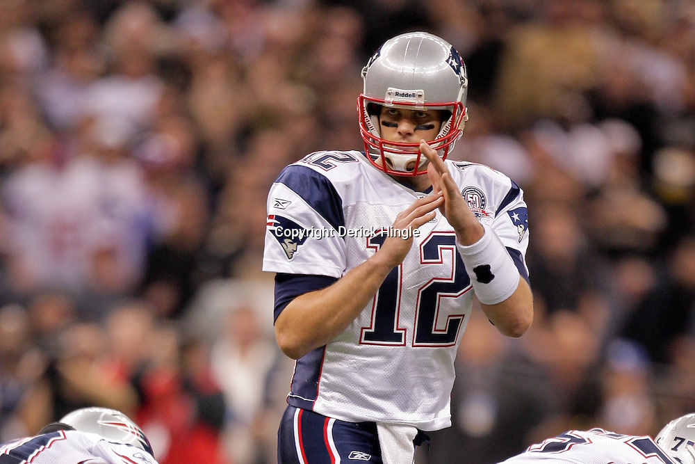 2009 November 30: New England Patriots quarterback Tom Brady (12) calls a time out during a 38-17 win by the New Orleans Saints over the New England Patriots at the Louisiana Superdome in New Orleans, Louisiana.