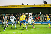Forest Green Rovers Ethan Pinnock(16) heads the ball scores a goal 3-3 during the Vanarama National League match between Torquay United and Forest Green Rovers at Plainmoor, Torquay, England on 26 December 2016. Photo by Shane Healey.