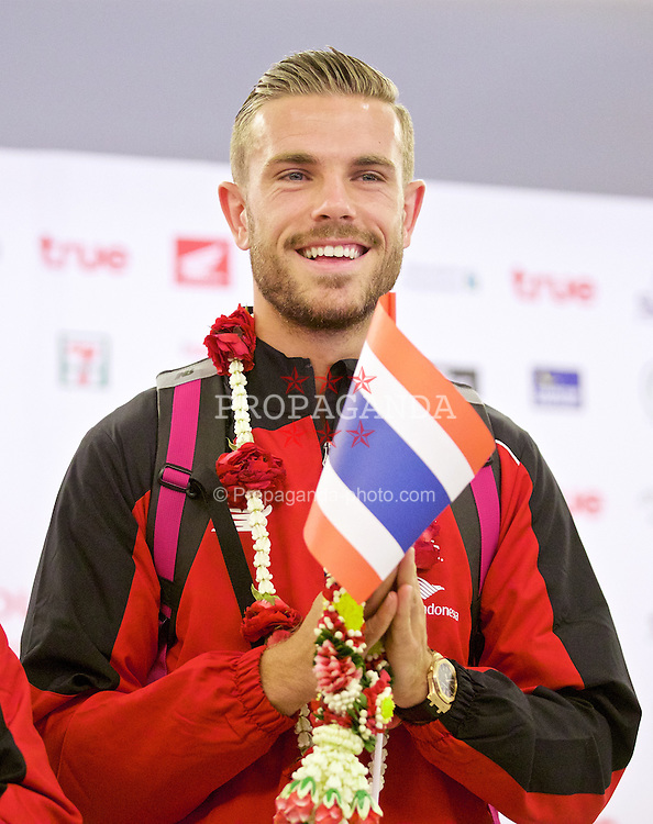 BANGKOK, THAILAND - Monday, July 13, 2015: Liverpool's captain Jordan Henderson at Bangkok's Suvarnabhumi Airport as the team arrive in Thailand for the start of the club's preseason tour. (Pic by David Rawcliffe/Propaganda)