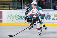 KELOWNA, CANADA - JANUARY 24: Colton Sissons #15 of the Kelowna Rockets skates on the ice against the   Seattle Thunderbirds at the Kelowna Rockets on January 24, 2013 at Prospera Place in Kelowna, British Columbia, Canada (Photo by Marissa Baecker/Shoot the Breeze) *** Local Caption ***
