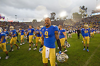 17 October 2012: The UCLA Bruins celebrate after defeating the USC Trojans 38-28 at the Rose Bowl in Pasadena, CA.