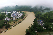 SHANGRAO, CHINA - JUNE 25: <br /> <br /> Torrential Rain Hits Jiangxi in china<br /> <br /> Aerial view of the flood caused by heavy rain at Qiukou Town of Wuyuan County on June 25, 2017 in Shangrao, Jiangxi Province of China. Torrential rain since last Thursday has affected people's life in many parts of south China. 93 people are still missing by Monday morning after a landslide in Sichuan. At least 22 are people dead and 6 are missing in Jiangxi, Guizhou, Hunan, Yunnan and Anhui, according to Xinhua Agency. <br /> ©Exclusivepix Media