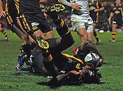 Wycombe, Great Britain, Wasps, Paul SACKEY, rolling after his late, second half,  touch down,  during the Guinness Premiership Game London Wasps vs Newcastle Falcon at Adams Park, England, on Sunday 25/11/2007   [Mandatory Credit. Peter Spurrier/Intersport Images]