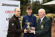 Tom McKibbin winner of the  junior Bridgestone Order of Merit pictured with Colm Conyngham Bridgestone Ireland and Jim McGovern President GUI at the presentations in the GUI National Academy, Maynooth, Kildare, Ireland. 30/11/2019.<br /> Picture Fran Caffrey / Golffile.ie<br /> <br /> All photo usage must carry mandatory copyright credit (© Golffile   Fran Caffrey)