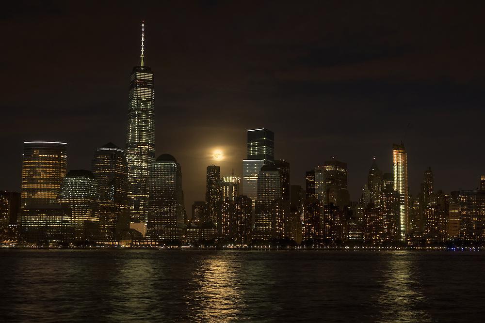 Supermoon rising over Lower Manhattan, September 27, 2015, New York City