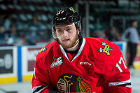 KELOWNA, CANADA - APRIL 8: Alex Overhardt #17 of the Portland Winterhawks warms up against the Kelowna Rockets on April 8, 2017 at Prospera Place in Kelowna, British Columbia, Canada.  (Photo by Marissa Baecker/Shoot the Breeze)  *** Local Caption ***