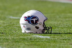 SANTA CLARA, CA - DECEMBER 17: Detailed view of a Tennessee Titans helmet on the field before the game against the San Francisco 49ers at Levi's Stadium on December 17, 2017 in Santa Clara, California. The San Francisco 49ers defeated the Tennessee Titans 25-23. (Photo by Jason O. Watson/Getty Images) *** Local Caption ***