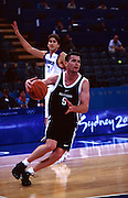 Brad Riley during the Men's basketball match between the New Zealand Tall Blacks and France at the Olympics in Sydney, Australia on 17 September, 2000. Photo: PHOTOSPORT<br />