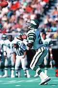 Philadelphia Eagles punt returner Evan Cooper (21) catches a punt during the NFL football game against the San Francisco 49ers on Sept. 23, 1984 in Philadelphia. The 49ers won the game 21-9. (©Paul Anthony Spinelli)