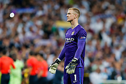 Joe Hart of Manchester City looks dejected after Real Madrid win 1-0 to progress for the Champions League Final - Mandatory byline: Rogan Thomson/JMP - 04/05/2016 - FOOTBALL - Santiago Bernabeu Stadium - Madrid, Spain - Real Madrid v Manchester City - UEFA Champions League Semi Finals: Second Leg.