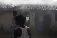 Smoke rises from a coal burning stove at a tea shop in Palo Jhari Jharkhand, India Wednesday, Oct. 10, 2012 (Photo/Elizabeth Dalziel for Christian Aid)