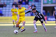 Oxford Utd's Kemar Roofe and Plymouth Argyle's Graham Carey during the Sky Bet League 2 match between Plymouth Argyle and Oxford United at Home Park, Plymouth, England on 5 March 2016. Photo by Graham Hunt.