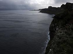 UK SCOTLAND ISLE OF SKYE 8OCT13 - Kilt Rock cliffs and Mealt Falls waterfall landscape near Staffin on the Isle of Skye, western Scotland.<br /> <br /> jre/Photo by Jiri Rezac<br /> <br /> © Jiri Rezac 2013