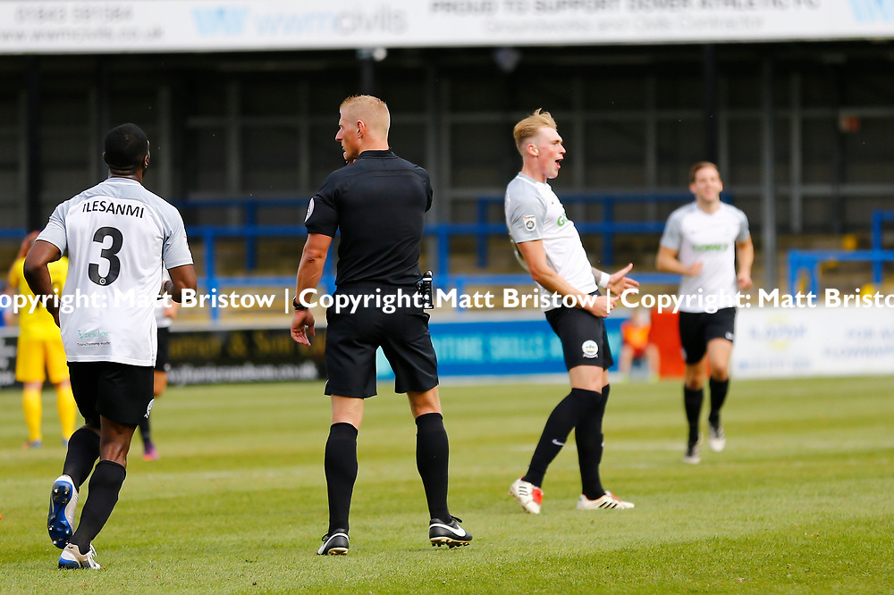 SEPTEMBER 1y6:  Dover Athletic against Chester FC in Conference Premier at Crabble Stadium in Dover, England. Doveer ran out emphatic winners 4 goal to nothing. Dover's forward Mitchell Pinnock celebrates scoring Dovers second goal. (Photo by Matt Bristow/mattbristow.net)