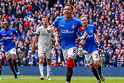 Goal! - Rangers Captain James Tavernier celebrates his 2nd goal of the game during the Ladbrokes Scottish Premiership match between Rangers and Aberdeen at Ibrox, Glasgow, Scotland on 27 April 2019.