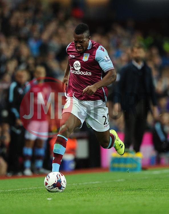 Adama Traore of Aston Villa is injured  - Mandatory byline: Joe Meredith/JMP - 07966386802 - 25/08/2015 - FOOTBALL - Villa Park -Birmingham,England - Aston Villa v Notts County - Capital One Cup - Second Round