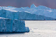Icebergs in Ilulissat icefjord, an UNESCO World Heritage Site, Greenland.