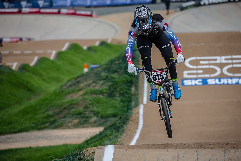 #815 (CLERTE Eddy) FRA at Round 2 of the 2020 UCI BMX Supercross World Cup in Shepparton, Australia.