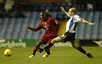 Photo: Aidan Ellis.<br /> Sheffield Wednesday v Cardiff City. Coca Cola Championship. 25/11/2006.<br /> Cardiff's Malvin Kamara plays a pass past Wednesday's John Hills