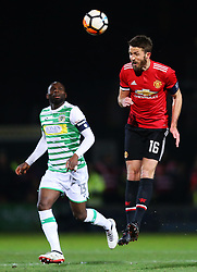 Michael Carrick of Manchester United and Francois Zoko of Yeovil Town - Rogan/JMP - 26/01/2018 - FOOTBALL - Huish Park - Yeovil, England - Yeovil Town v Manchester United - FA Cup Fourth Round.