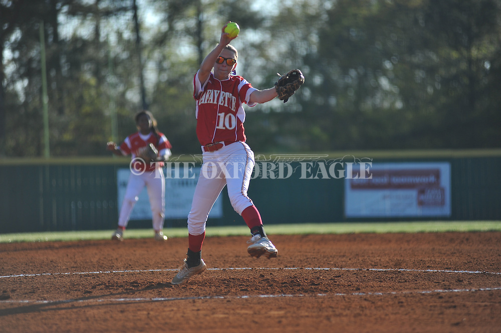 Lafayette High's Avery McCullough (10) pitches vs. Senatobia in girls softball action in Oxford, Miss. on Tuesday, April 15, 2014.