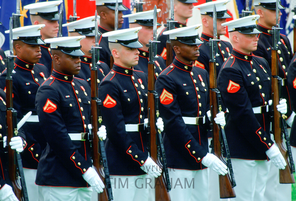 United States Military Guard of Honour with rifles raised parade on the White House Lawn, Washington, USA
