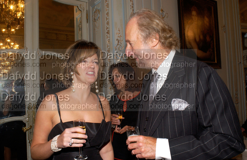 Petronella Wyatt and Ed Victor, Flora Fraser launch party for her book ' Princesses the Daughters of George 111' the Savile club, Brook St. 14 September 2004. SUPPLIED FOR ONE-TIME USE ONLY-DO NOT ARCHIVE. © Copyright Photograph by Dafydd Jones 66 Stockwell Park Rd. London SW9 0DA Tel 020 7733 0108 www.dafjones.com