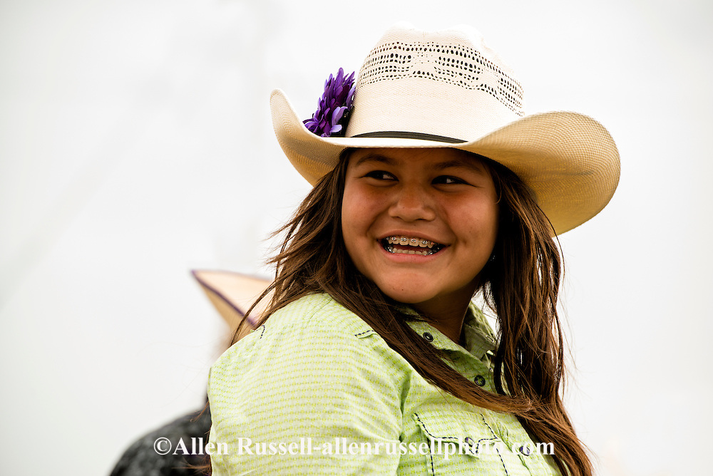 Teenage cowgirl, Rocky Boy Rodeo, Rocky Boy Indian Reservation, Montana