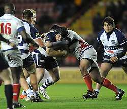 Bristol Rugby loosehead prop, Kyle Traynor is challenged - Photo mandatory by-line: Dougie Allward/JMP - Mobile: 07966 386802 - 05/12/2014 - SPORT - Rugby - Bristol - Ashton Gate - Bristol Rugby v London Scottish - B&I Cup